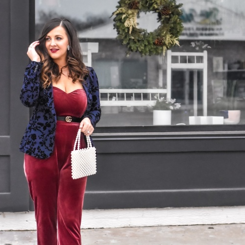 VELVET and Gold: Holiday Velvet Blazer and Jumpsuit