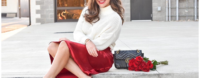 Valentine's Day Style Series | Sweater and Satin Midi Skirt