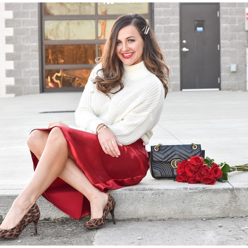 Valentine's Day Style Series | Sweater and Satin Midi Skirt